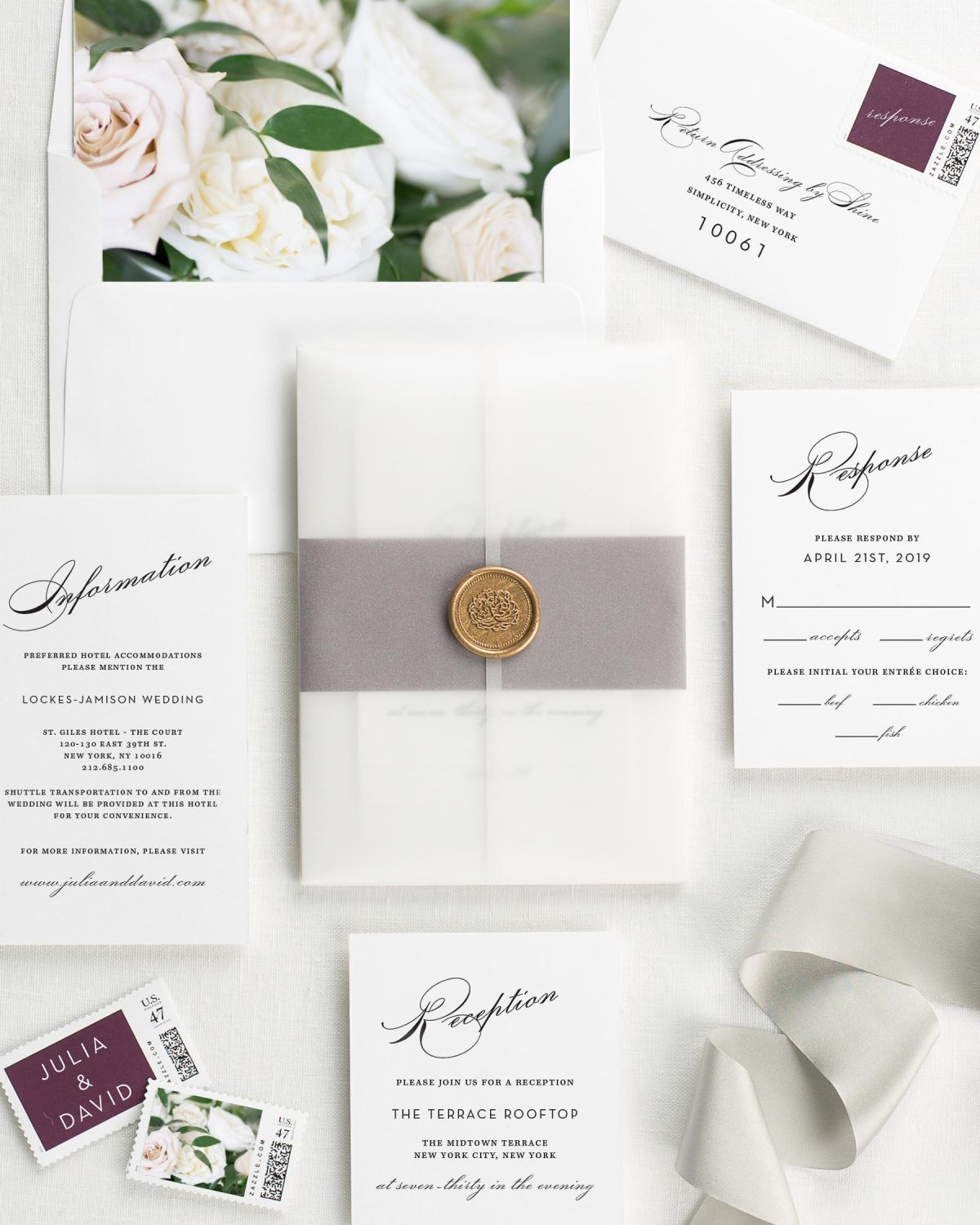 Vintage Glam Floral Wedding Invitations - Floral Wedding Invitations ...
