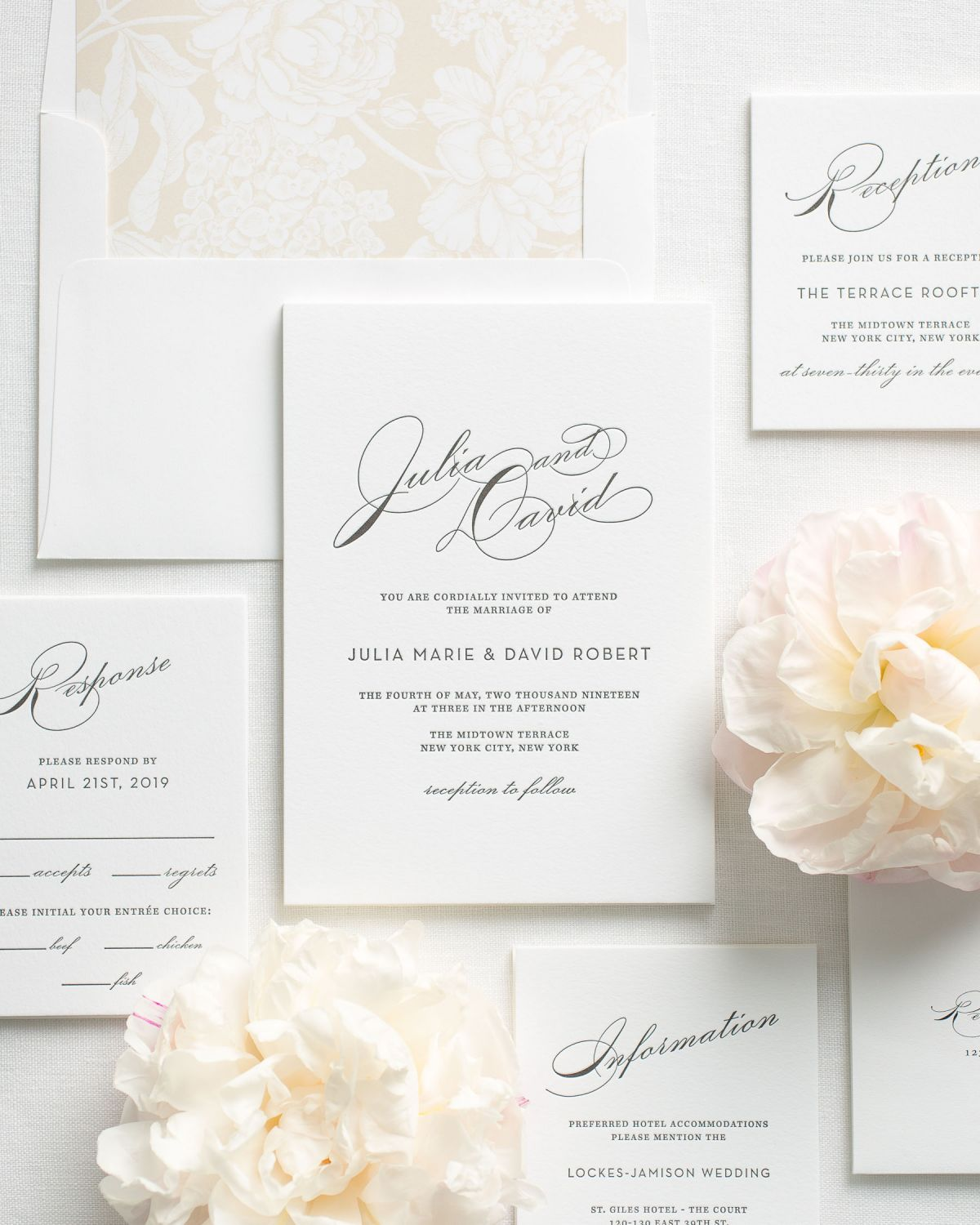 Champagne Wedding Invitation Suite with Letterpress Printing