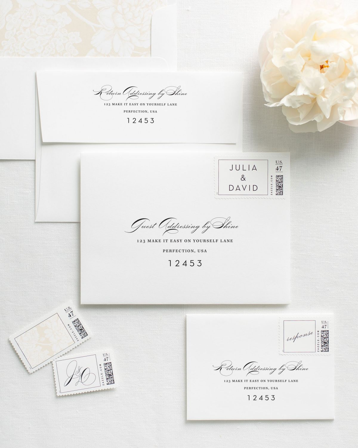 Vintage glam letterpress wedding invitations letterpress wedding wedding invitation envelopes with printed addresses and matching stamps letterpress wedding invitation diagram solutioingenieria Choice Image