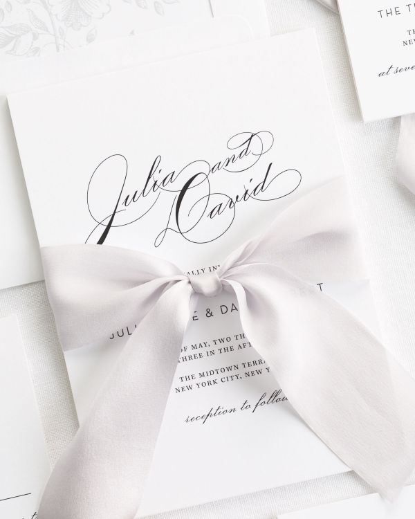 Vintage Glam Ribbon Wedding Invitations