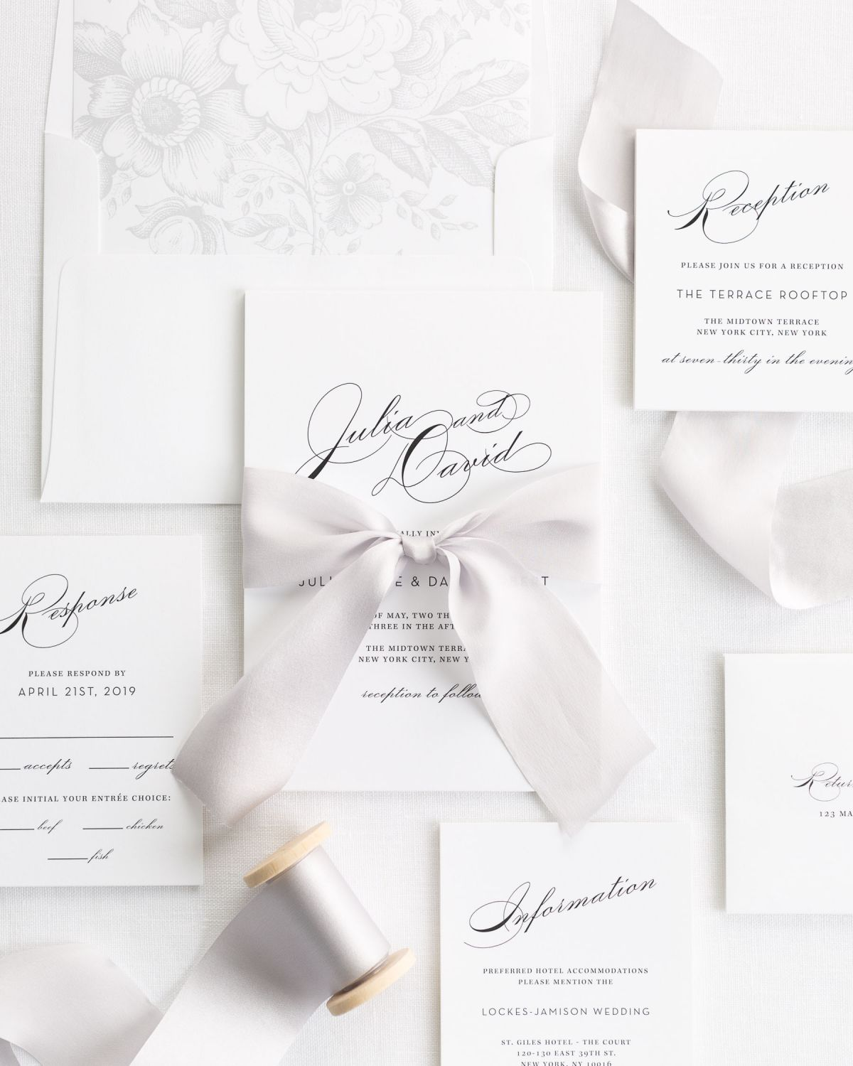 Complete Wedding Invitations with Platinum Ribbon and Enclosures