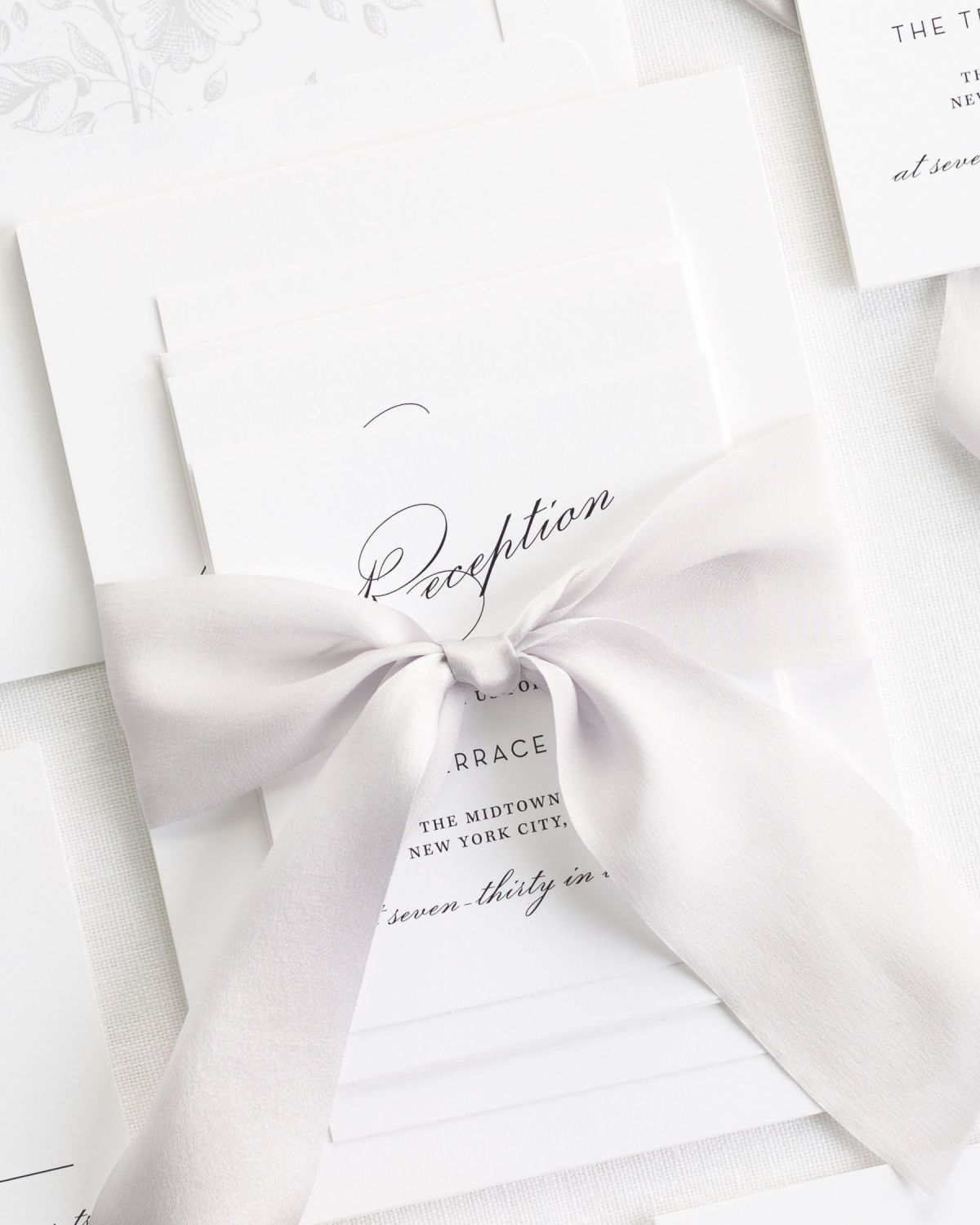 Silver Wedding Invitations with Silk Ribbon