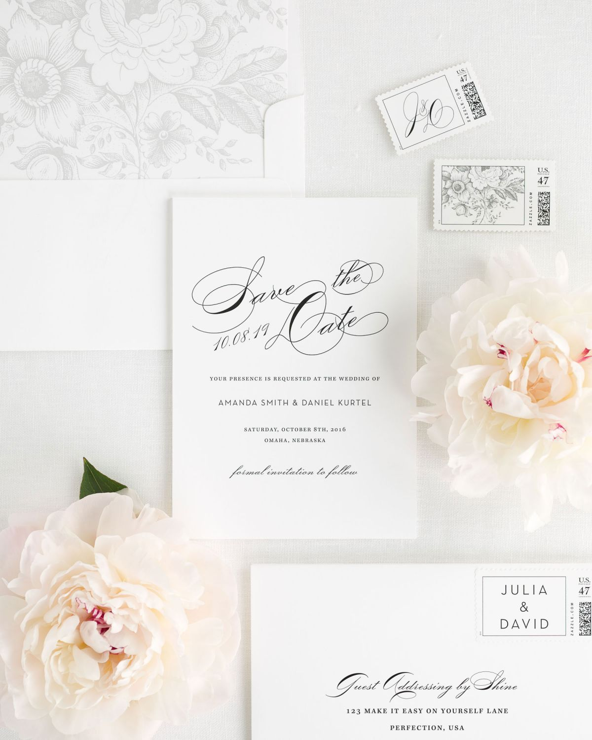 Vintage Save the Date Card with Custom Stamps and Light Gray Envelope Liner