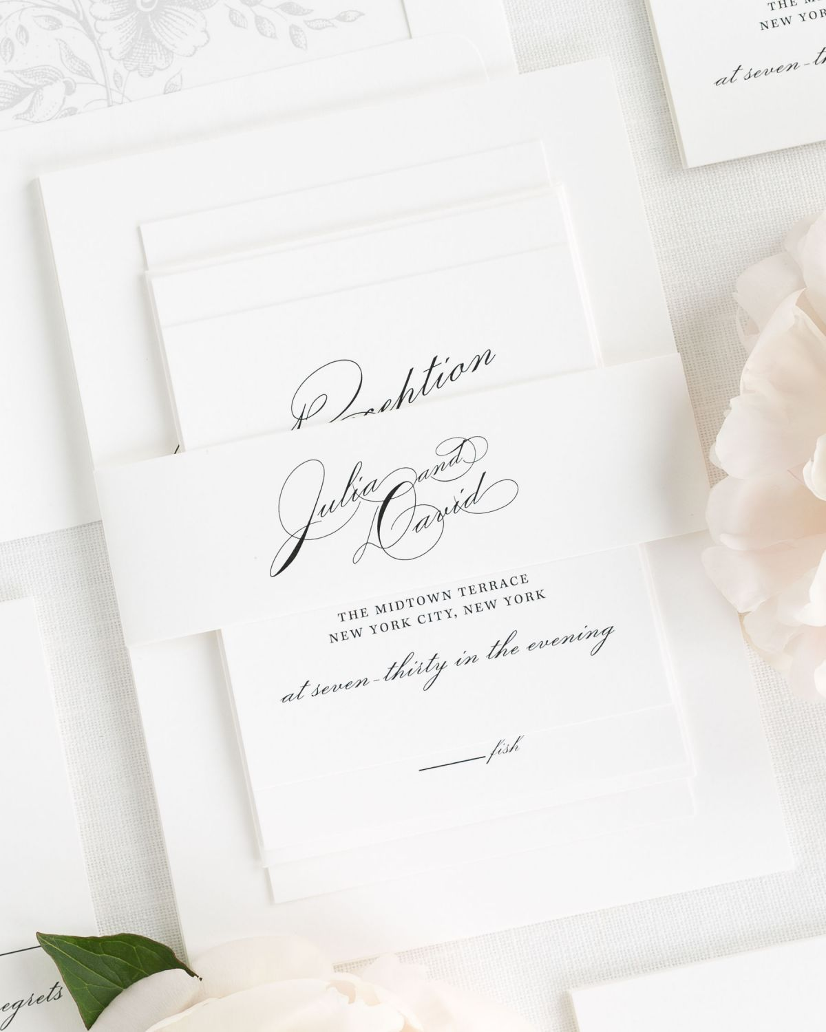 White Wedding Invitations with Belly Band and Light Gray Envelope Liner