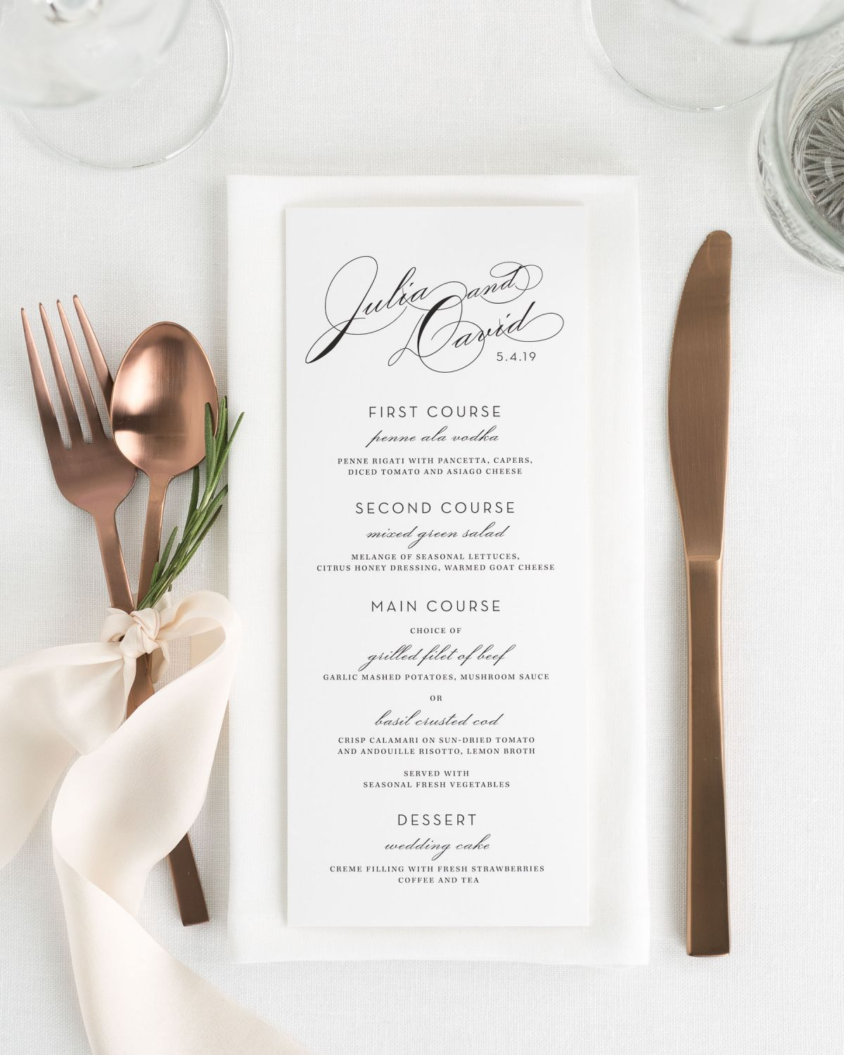 Vintage Wedding Menus for a Reception or Party