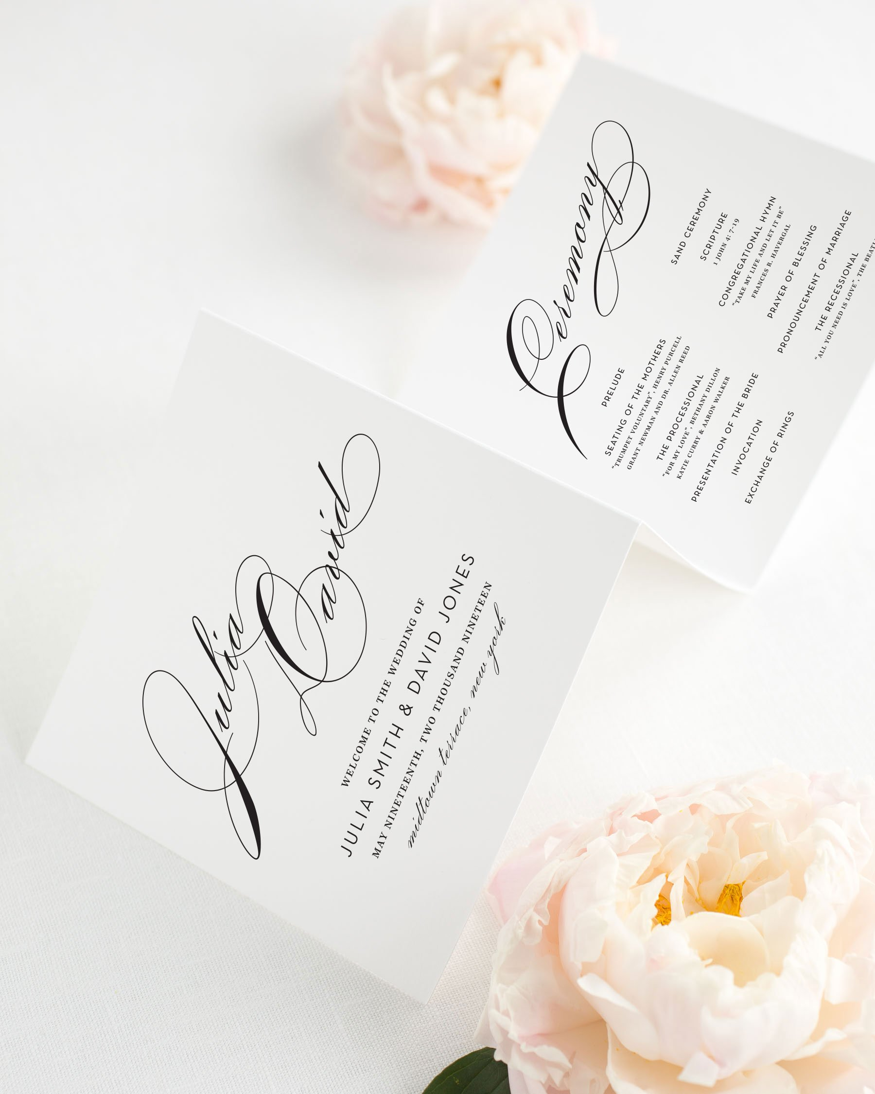 Wedding Program with Large Names - Wedding Programs by Shine