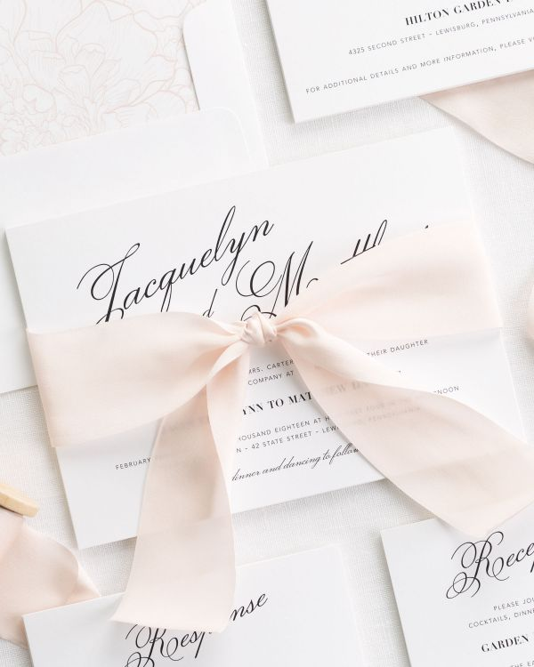 Vintage Romance Ribbon Wedding Invitations