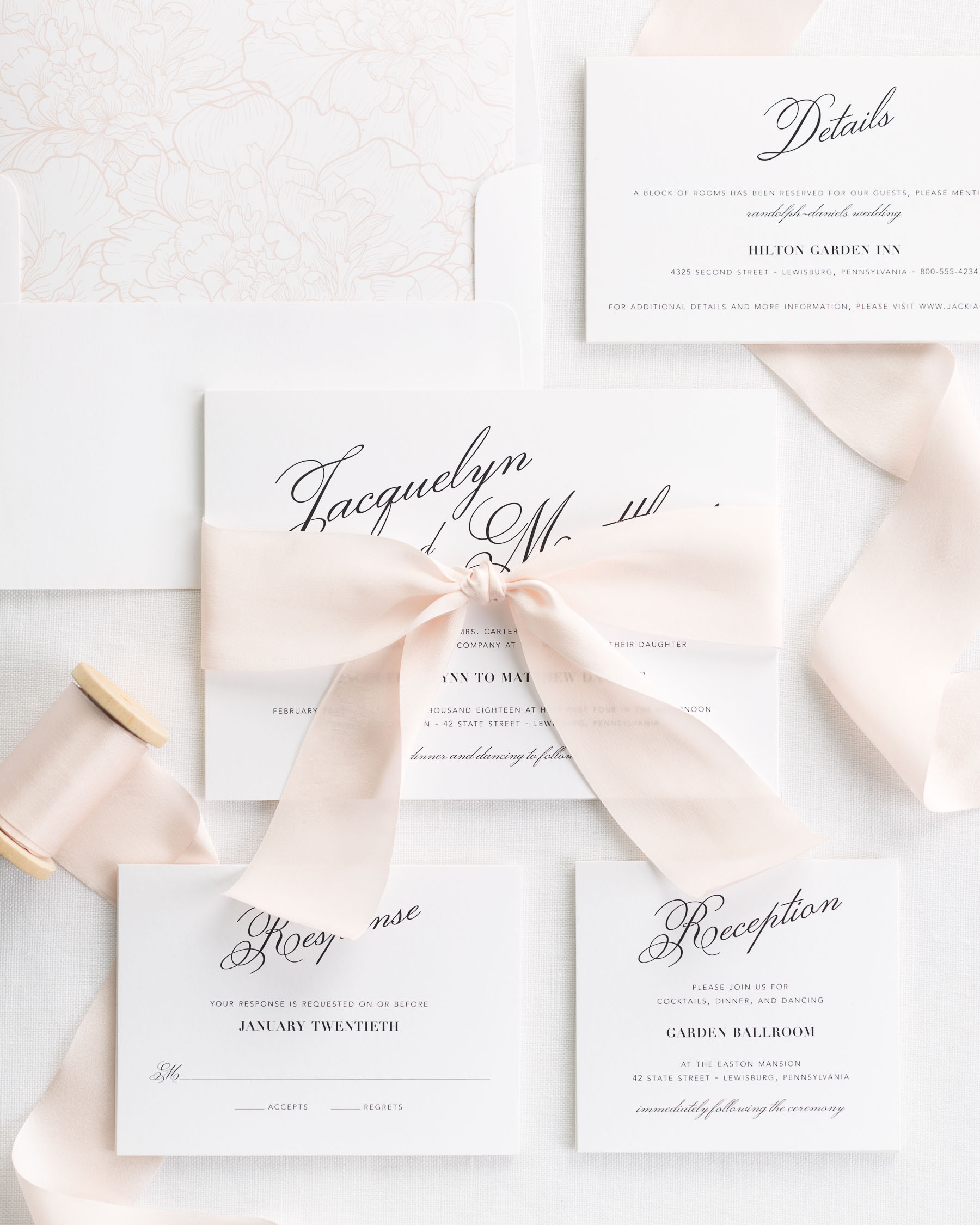 Wedding Invitations With Ribbons: Vintage Romance Ribbon Wedding Invitations