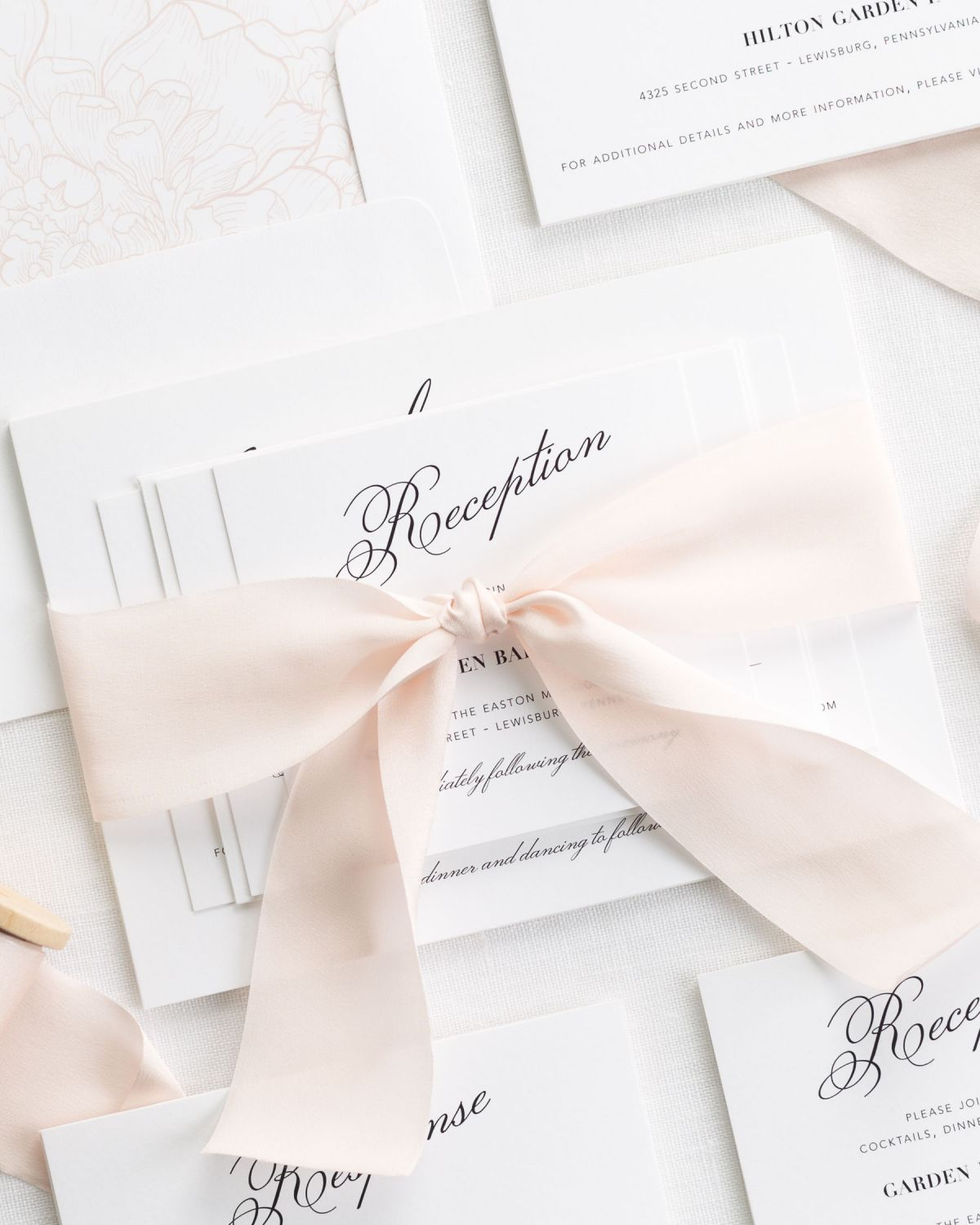 Blush Wedding Invitations with Silk Ribbon