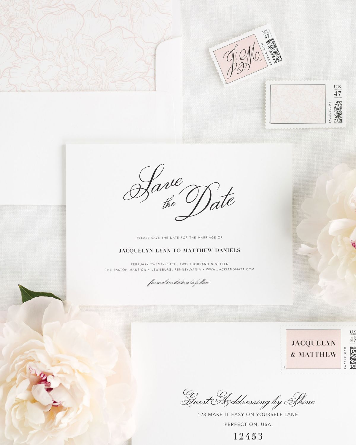 Save the Date Cards with Blush Envelope Liner and Custom Stamps