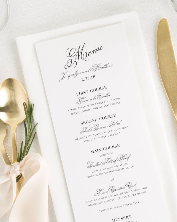 Vintage Romance Wedding Menus
