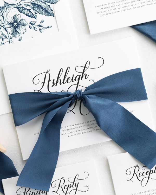 Vintage Script Ribbon Wedding Invitations