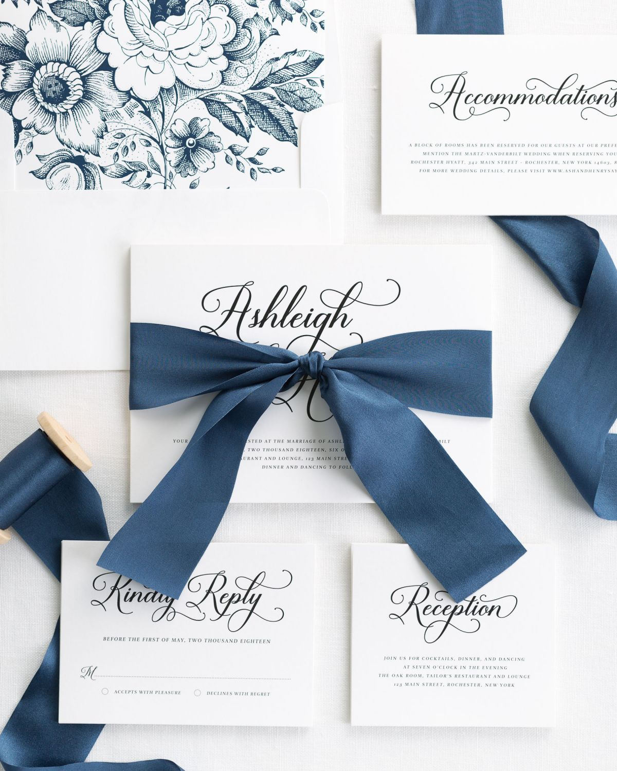 Complete Wedding Invitations with Sapphire Ribbon and Enclosures
