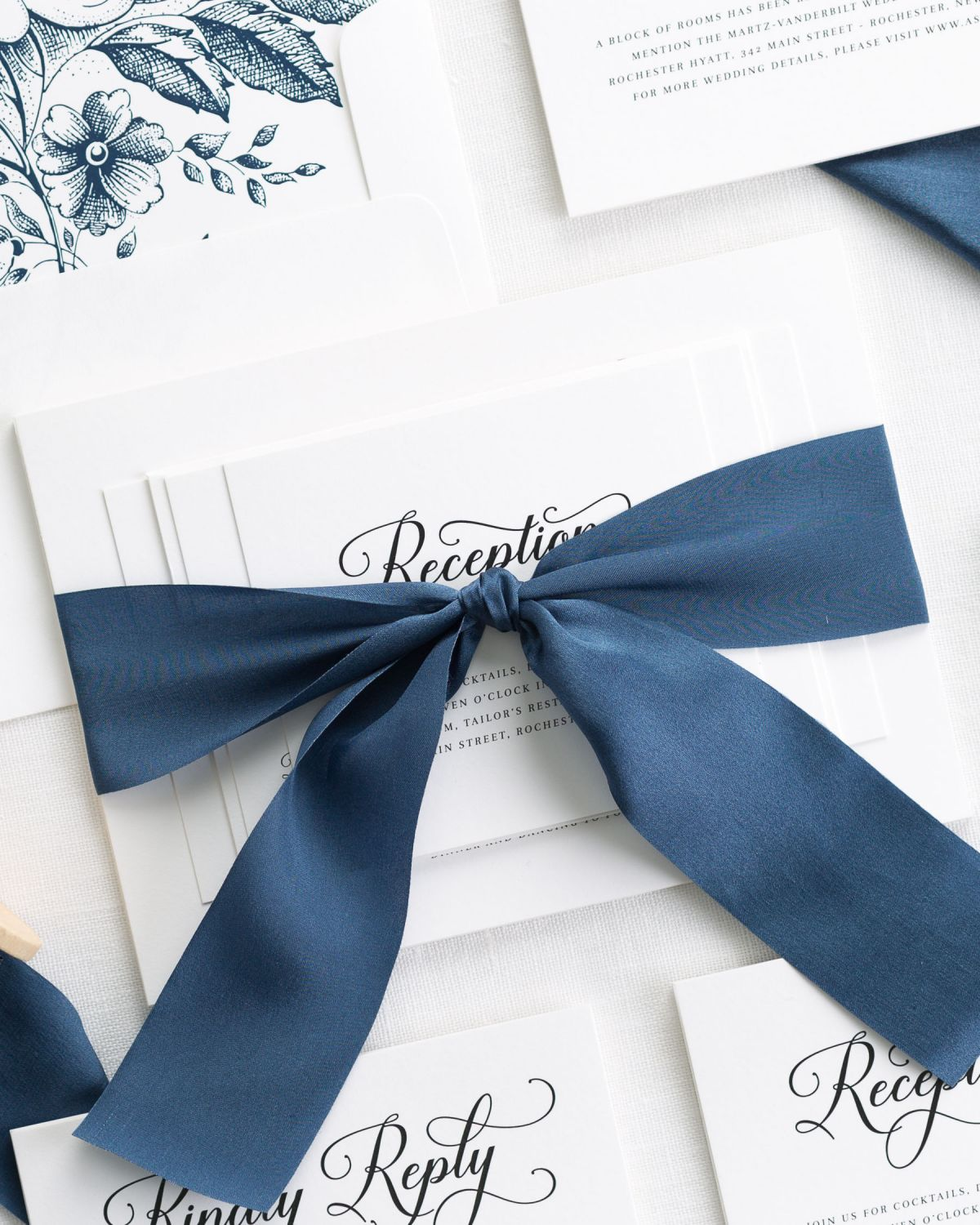 Navy Wedding Invitations with Silk Ribbon
