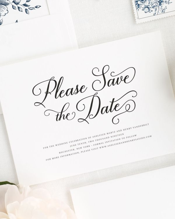 Vintage Script Save the Date Cards