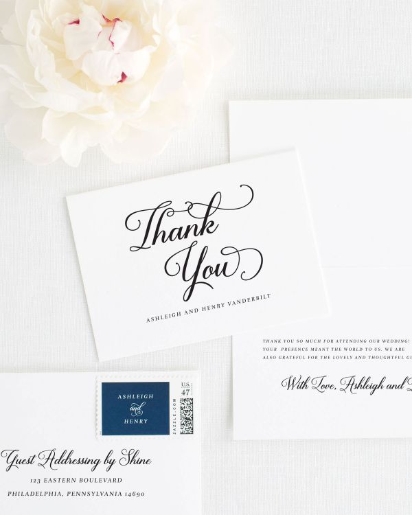 Vintage Script Thank You Cards