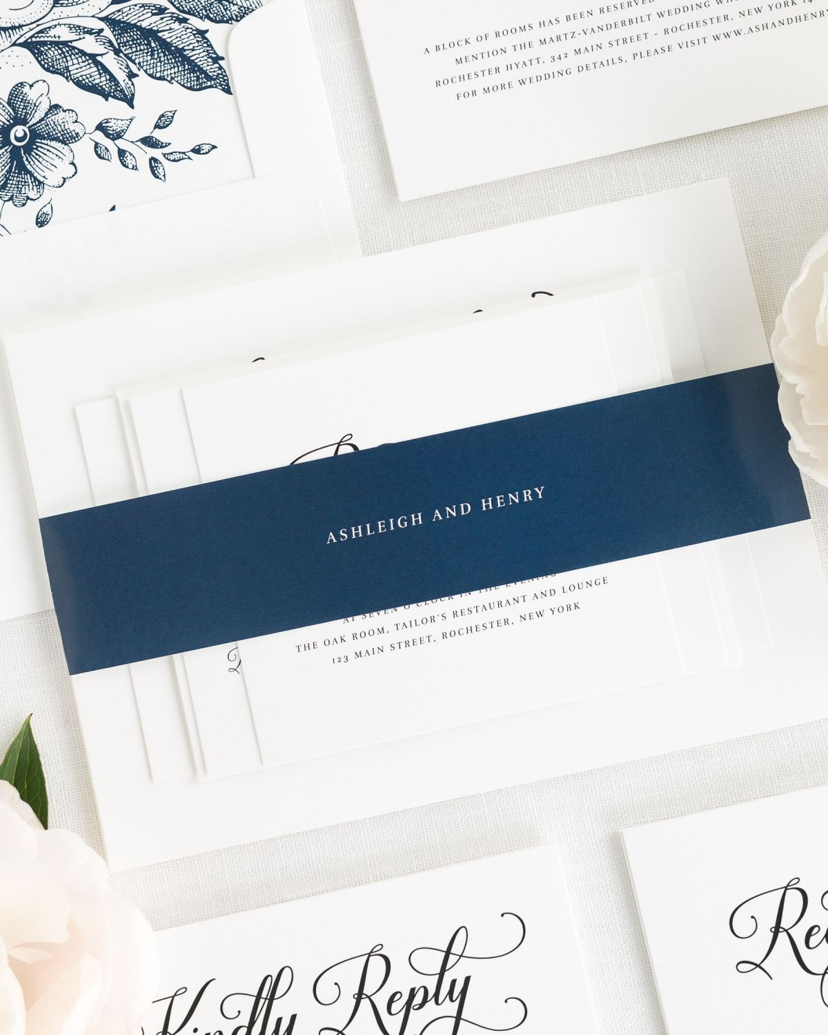 navy blue wedding invitations with belly band and floral liner