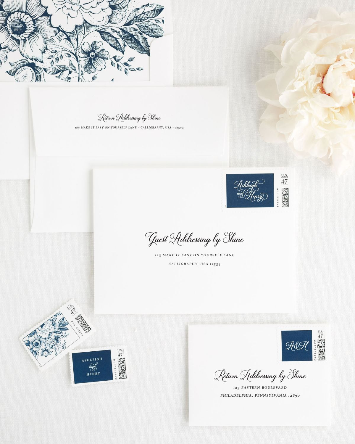 Wedding Invitation Envelopes with Custom Stamps in Navy Blue