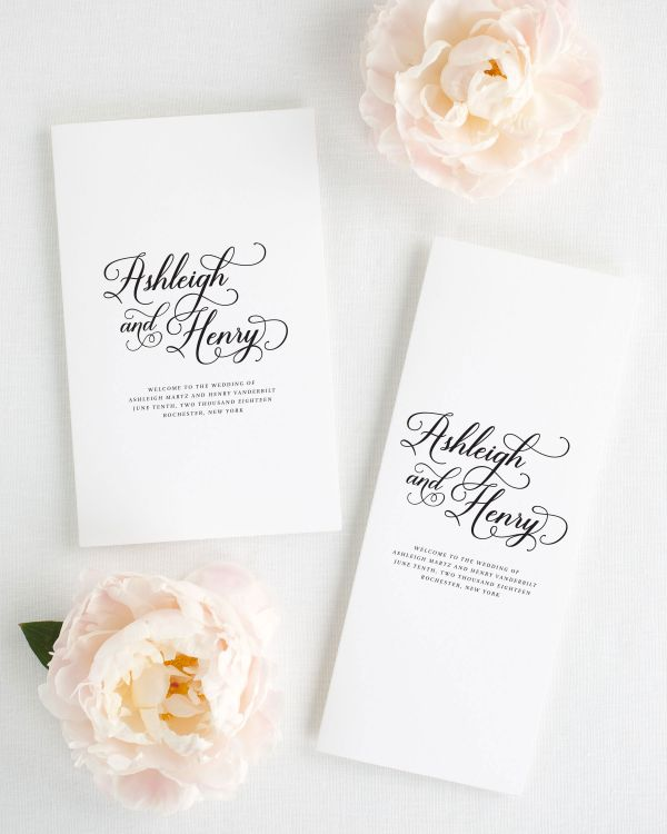 Vintage Script Booklet Wedding Programs