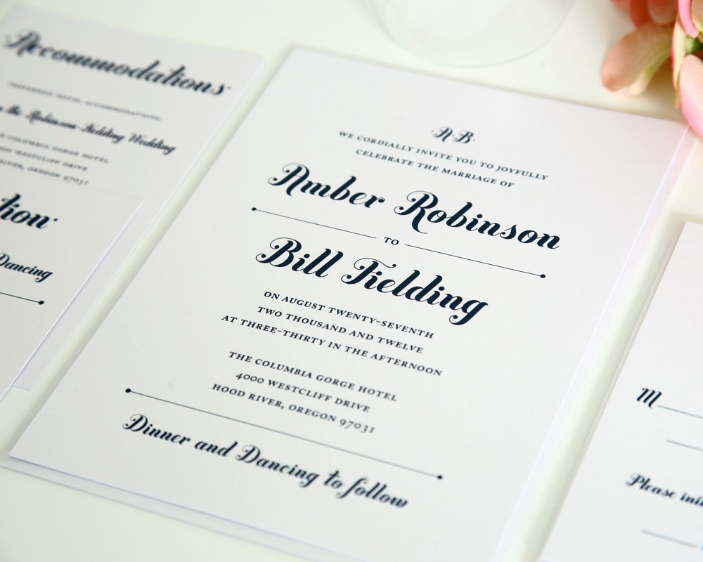 Whimsical Wedding Invitations in Navy