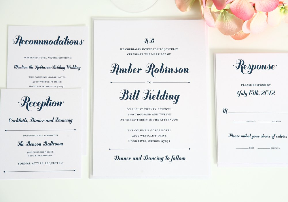 Navy Blue Wedding Invitation Suite