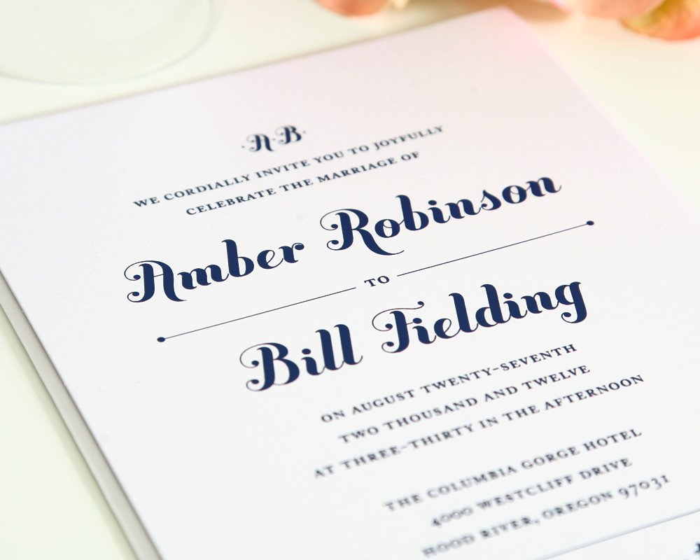 Chic Wedding Invitations in Navy Blue