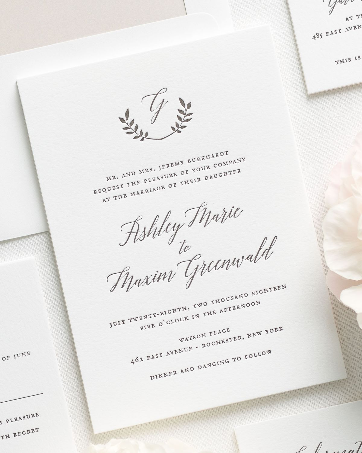 classic and traditional letterpress wedding invitations with a mocha liner