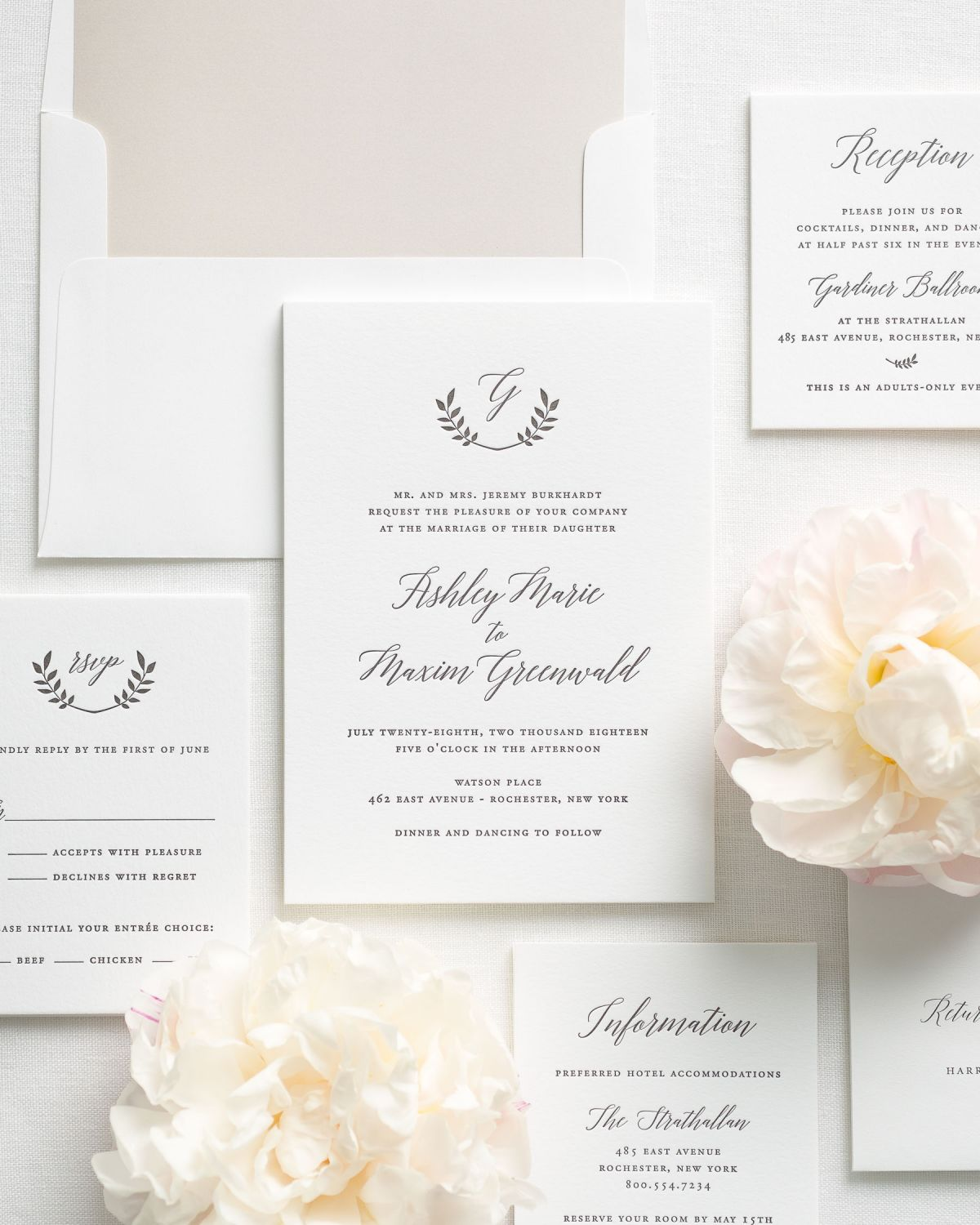 Classic Calligraphy Wedding Invitations with a mocha floral envelope liner