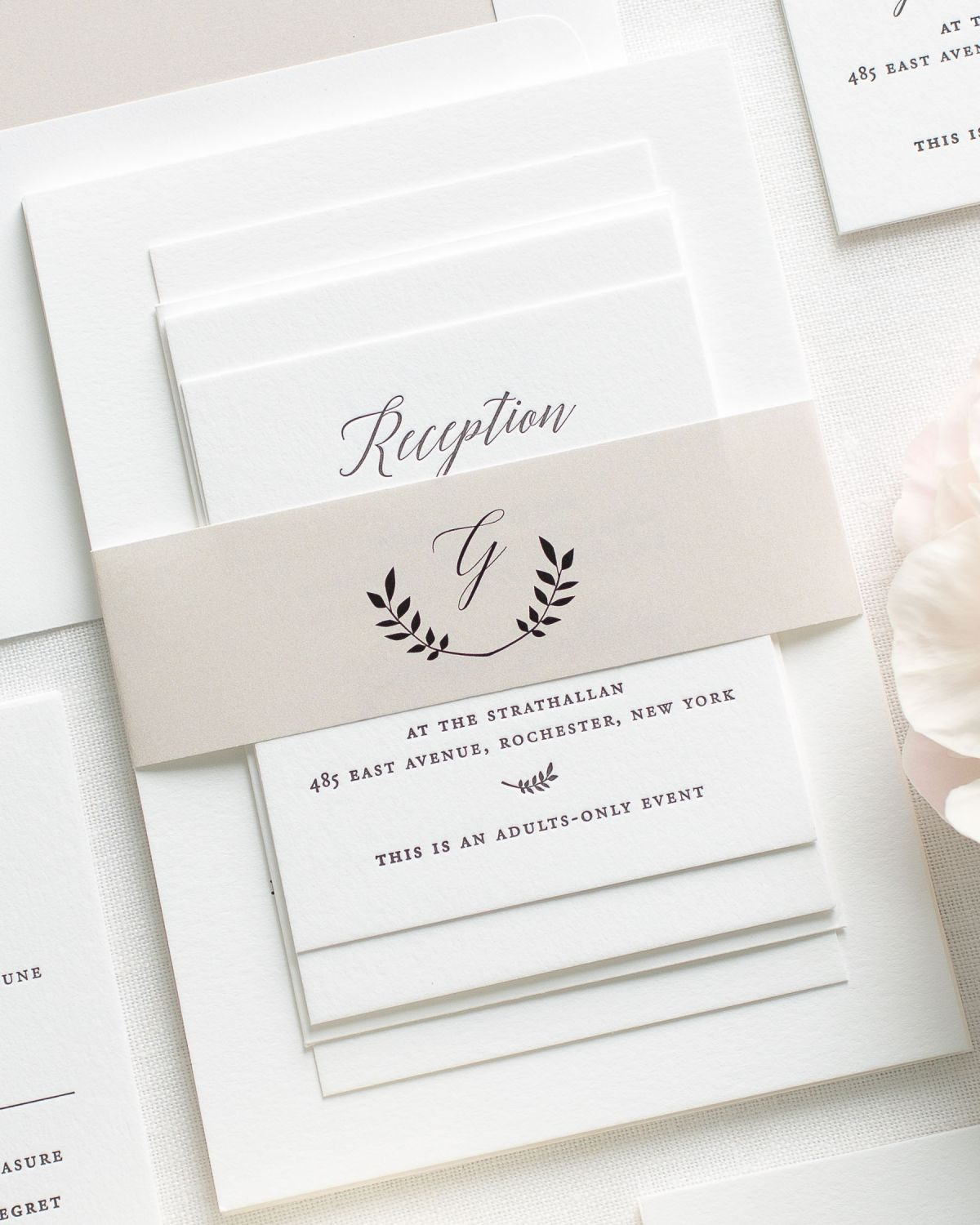 Script names on simple Letterpress Wedding Invitations in mocha