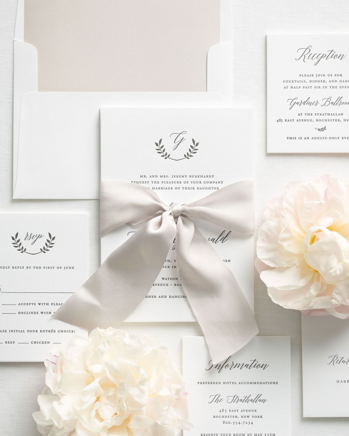Wreath Wedding Invitations with Silk Ribbon and Letterpress Printing