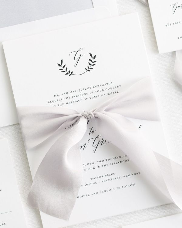 Wreath Monogram Ribbon Wedding Invitations