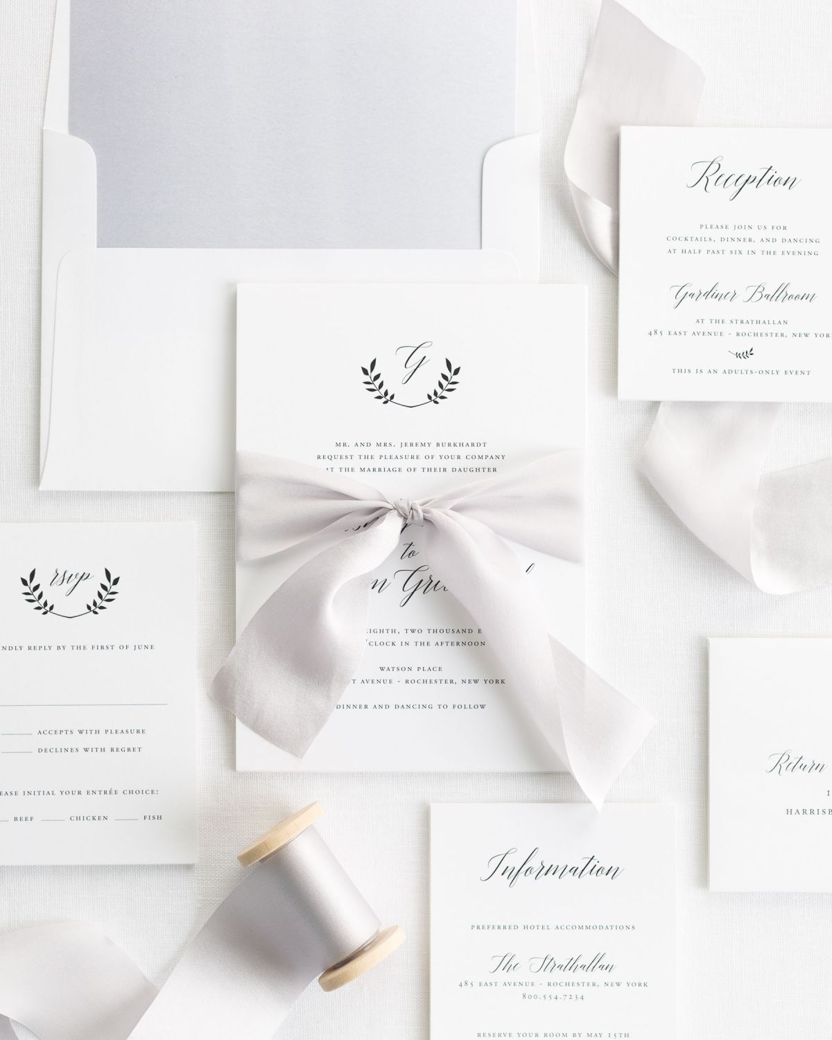 Complete Wedding Invitation Suite with Silver Ribbon and Enclosures