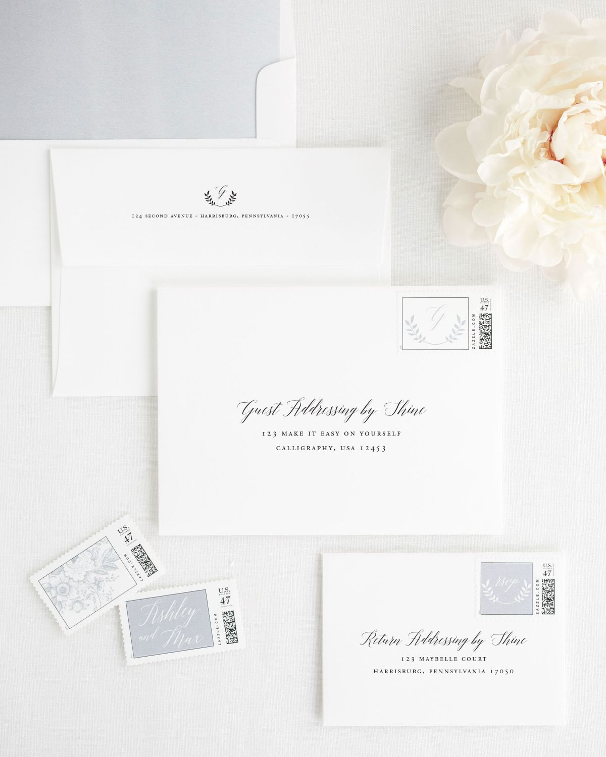 Wedding Invitation Envelopes with either Guest Address Printing and Matching Stamps