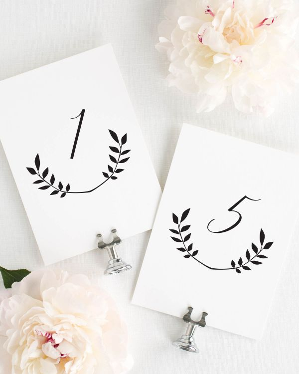 Wreath Monogram Table Numbers
