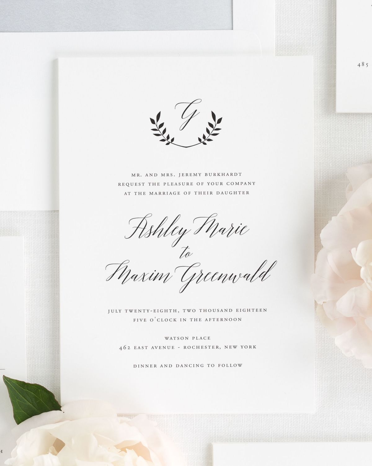 Wreath Monogram Wedding Invitations