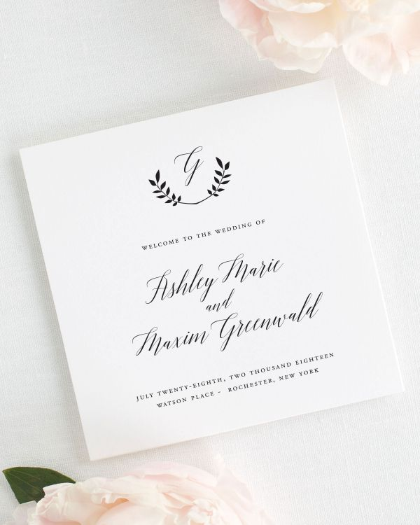Wreath Monogram Wedding Programs