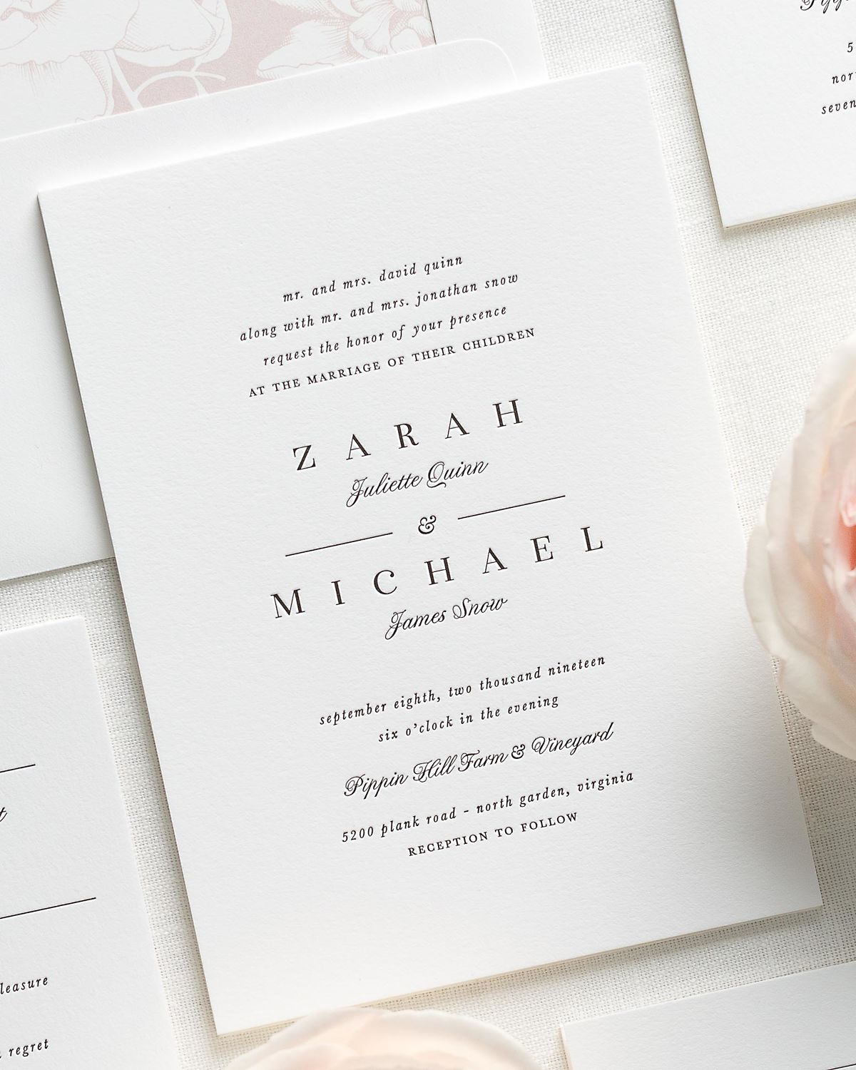 classic and traditional letterpress wedding invitations with a vintage blush liner