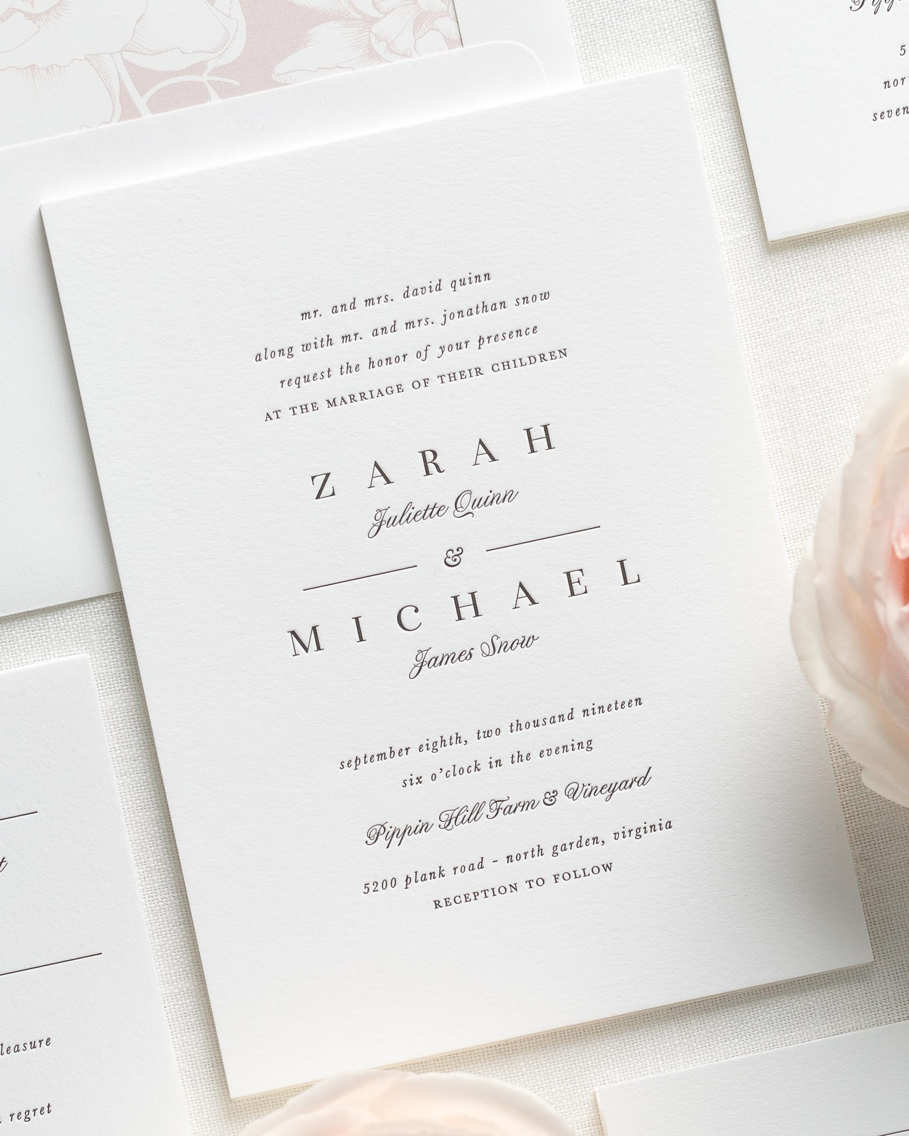 Zarah Letterpress Wedding Invitations