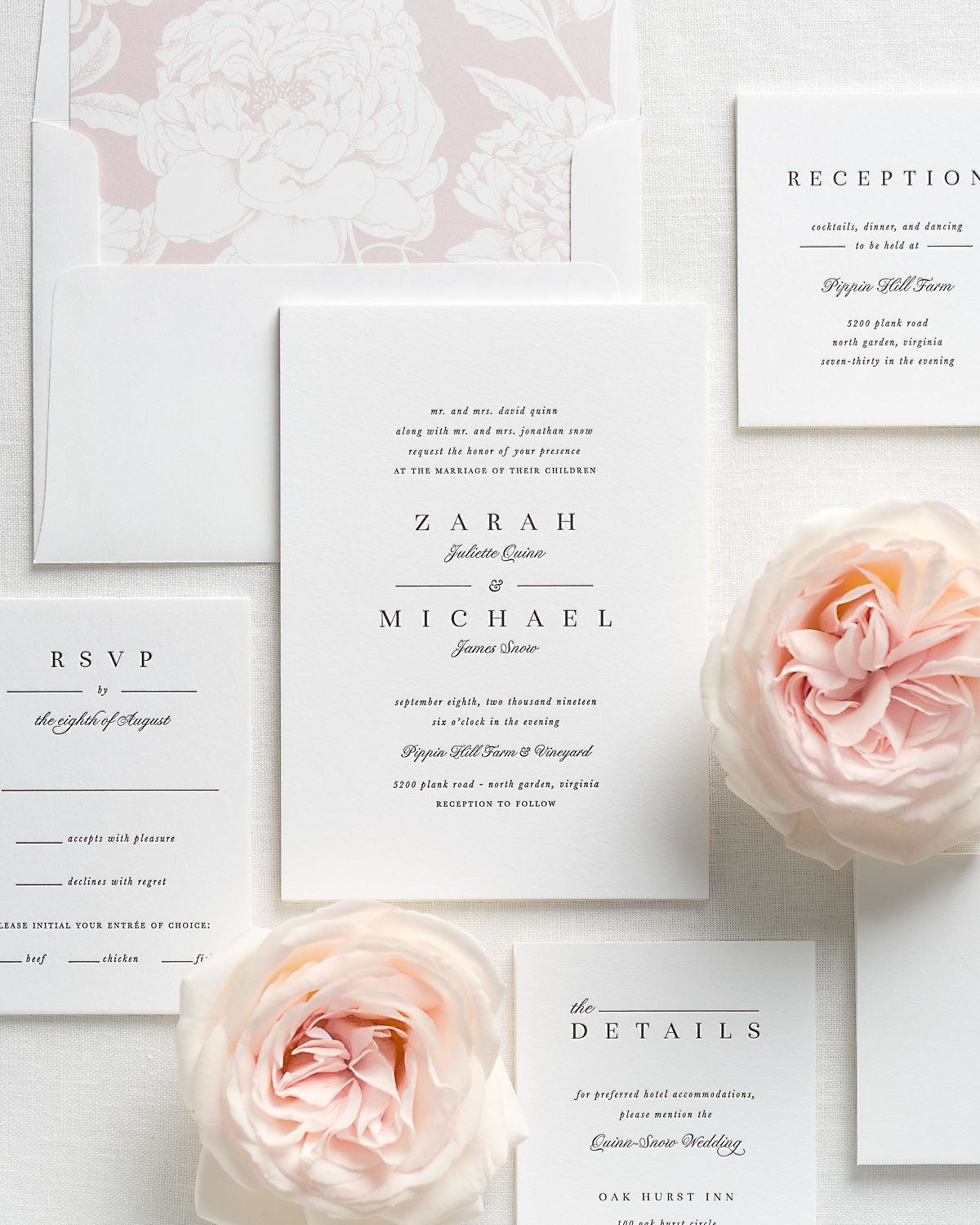 classic and traditional letterpress wedding invitations with a vintage blush envelope liner