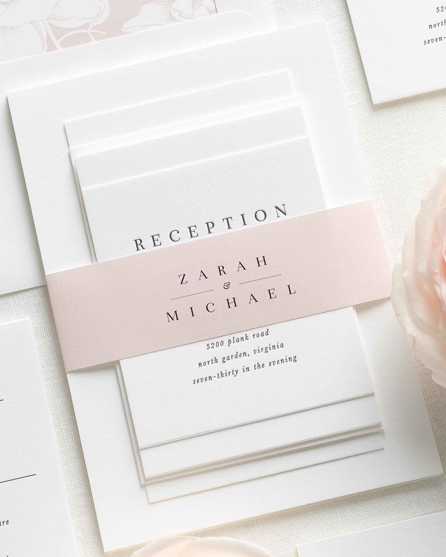 Zarah Letterpress Wedding Invitations By Shine