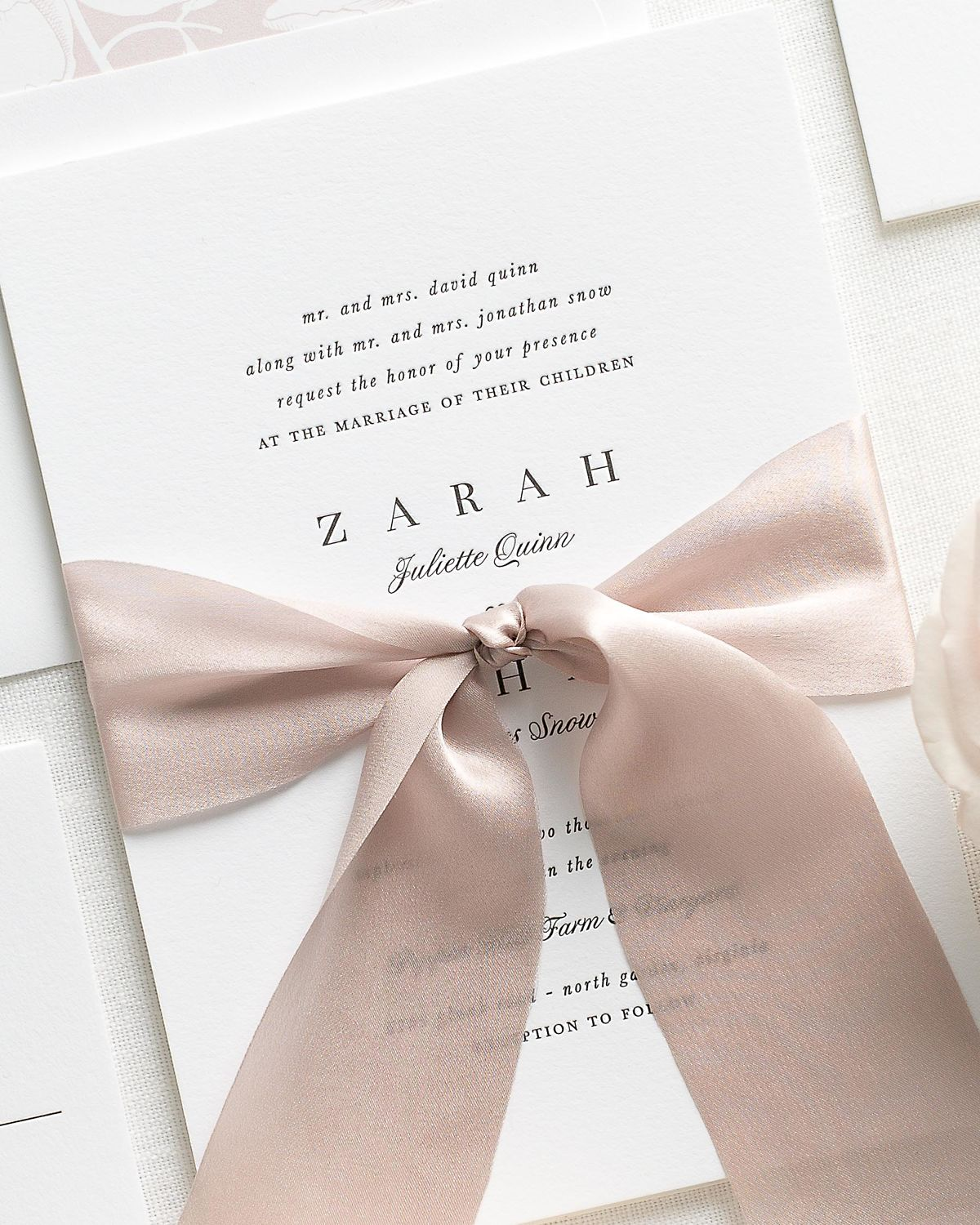 Letterpress Wedding Invitations with ribbon