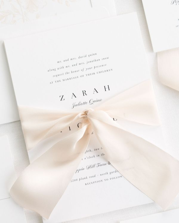 classic and stylish wedding invitations with cashmere silk ribbon