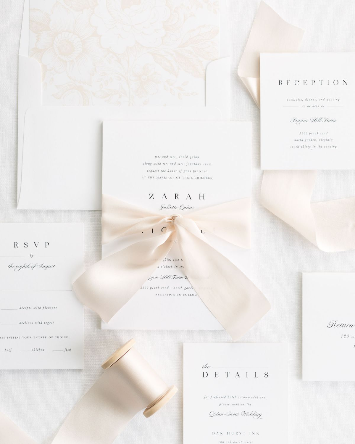 silk ribbon wedding invitations in cashmere with serif and script
