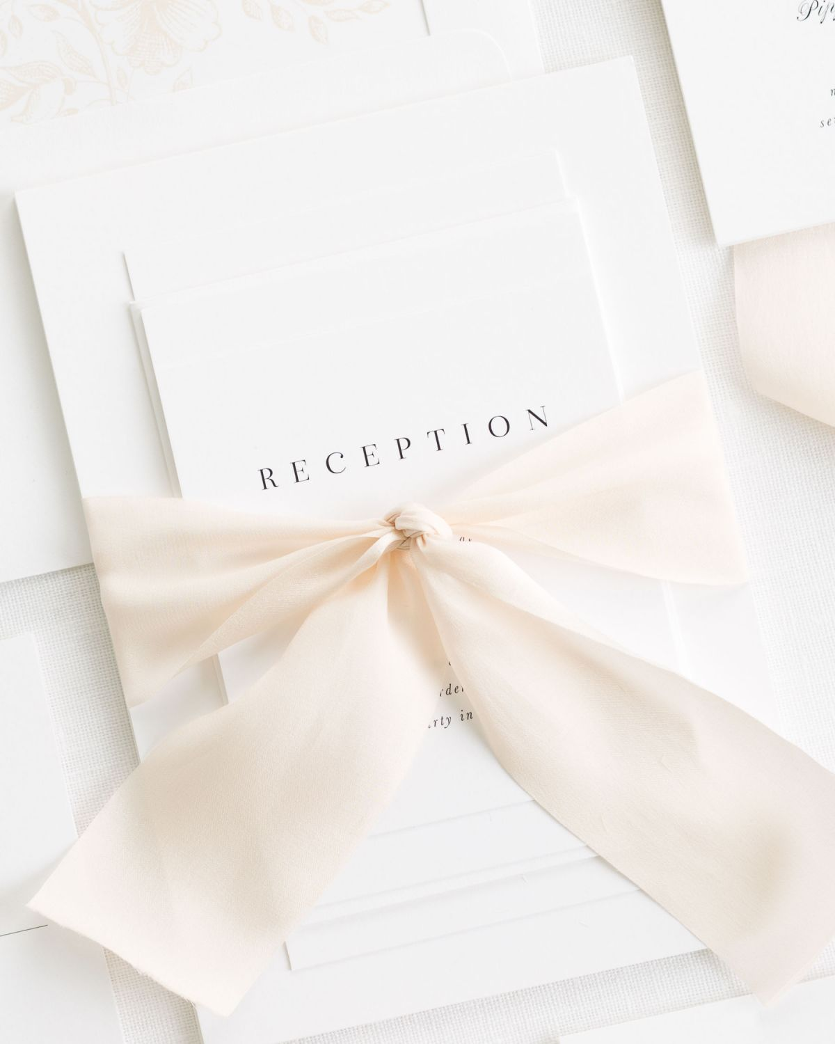 Neutral Weddign Invitations with Silk Ribbon