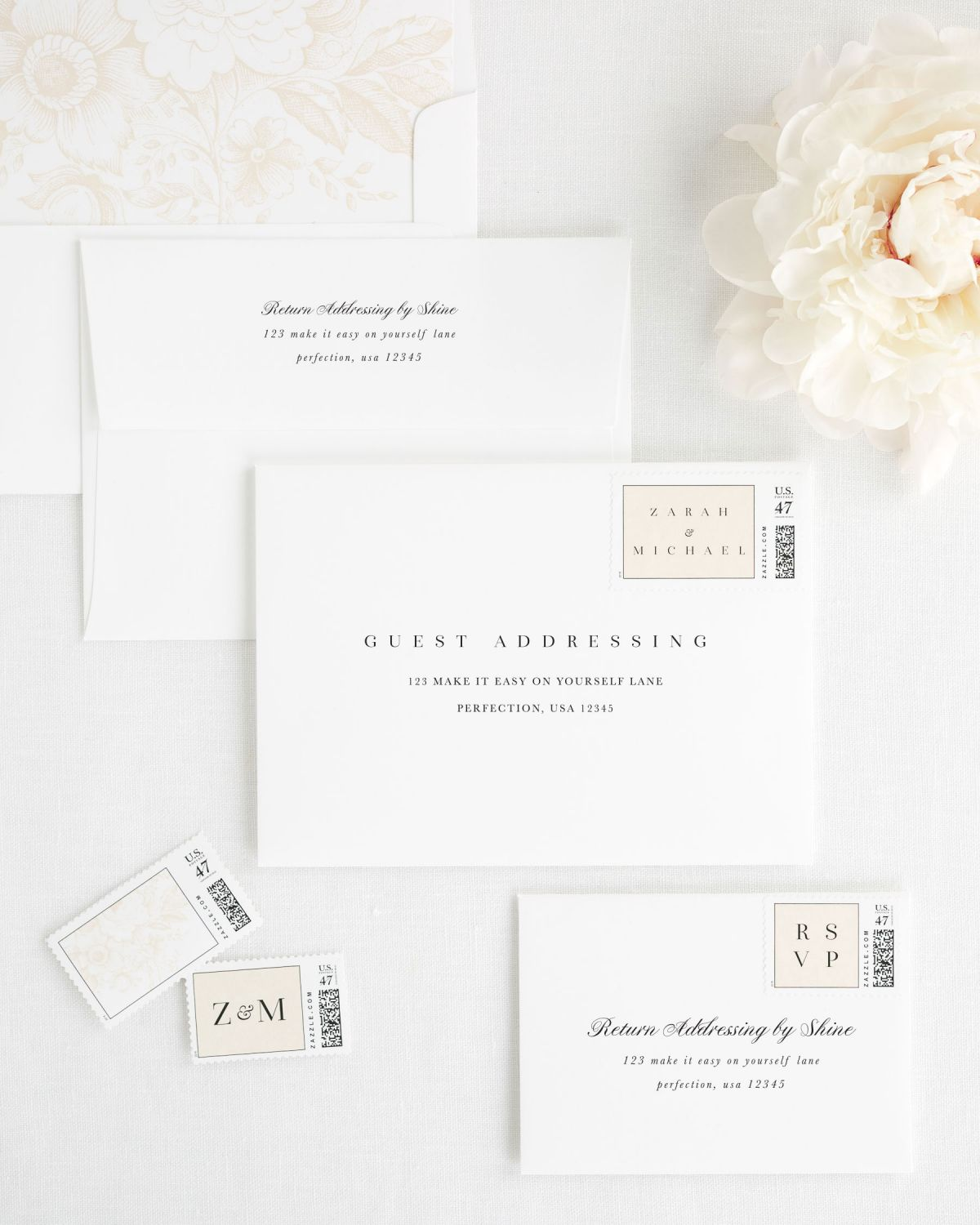 Clean And Simple Wedding Invitations With Silk Ribbon Wedding