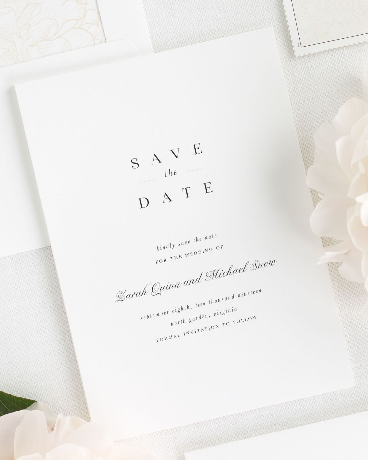 neutral save the dates with custom stamps
