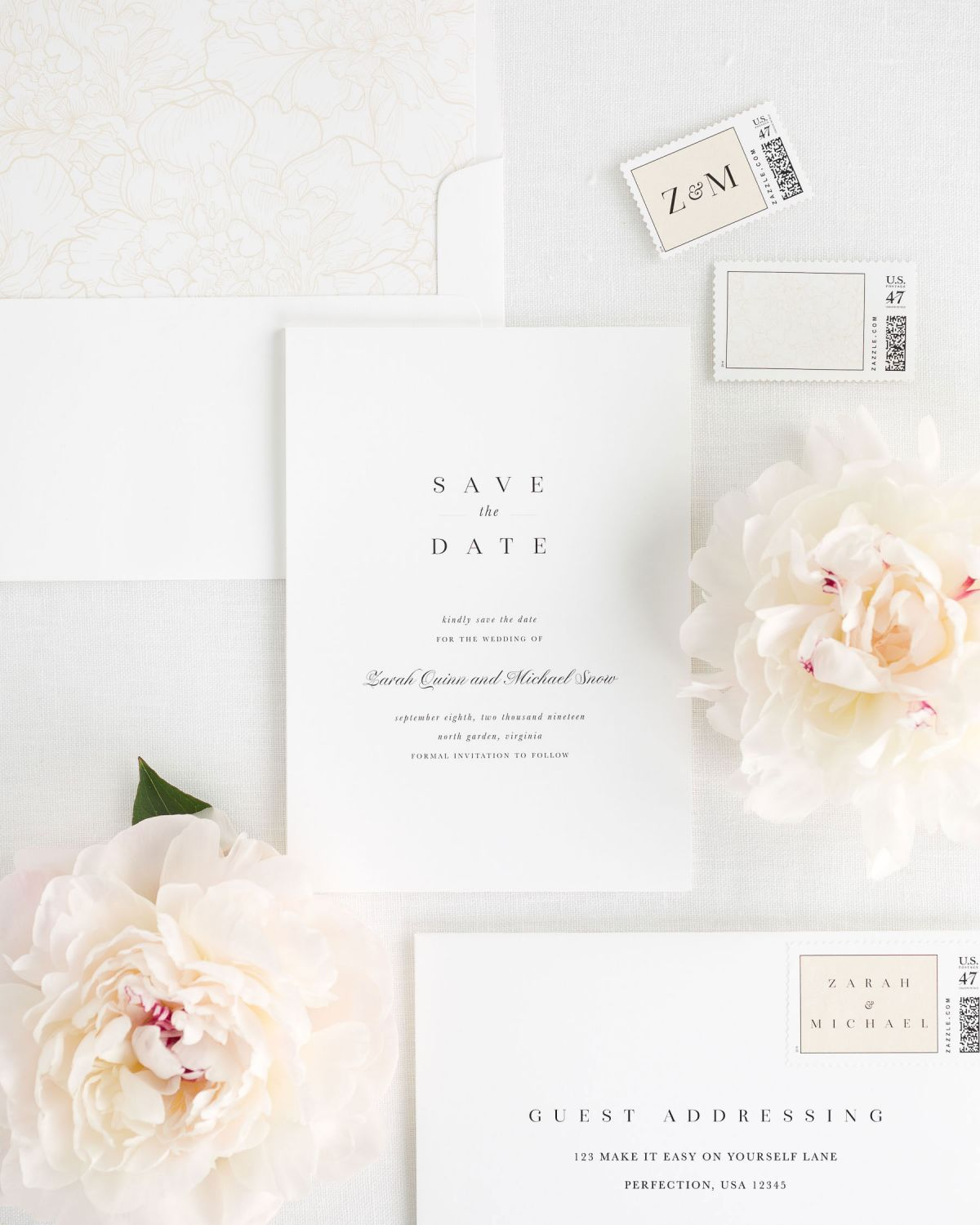 Elegant Save the Dates with Guest Addressing and Custom Postage