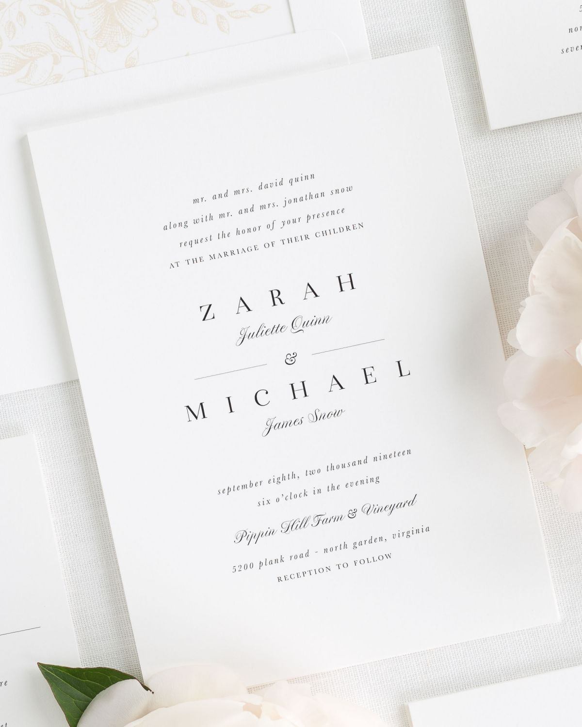 Elegant Wedding Invitations With A Simple Script