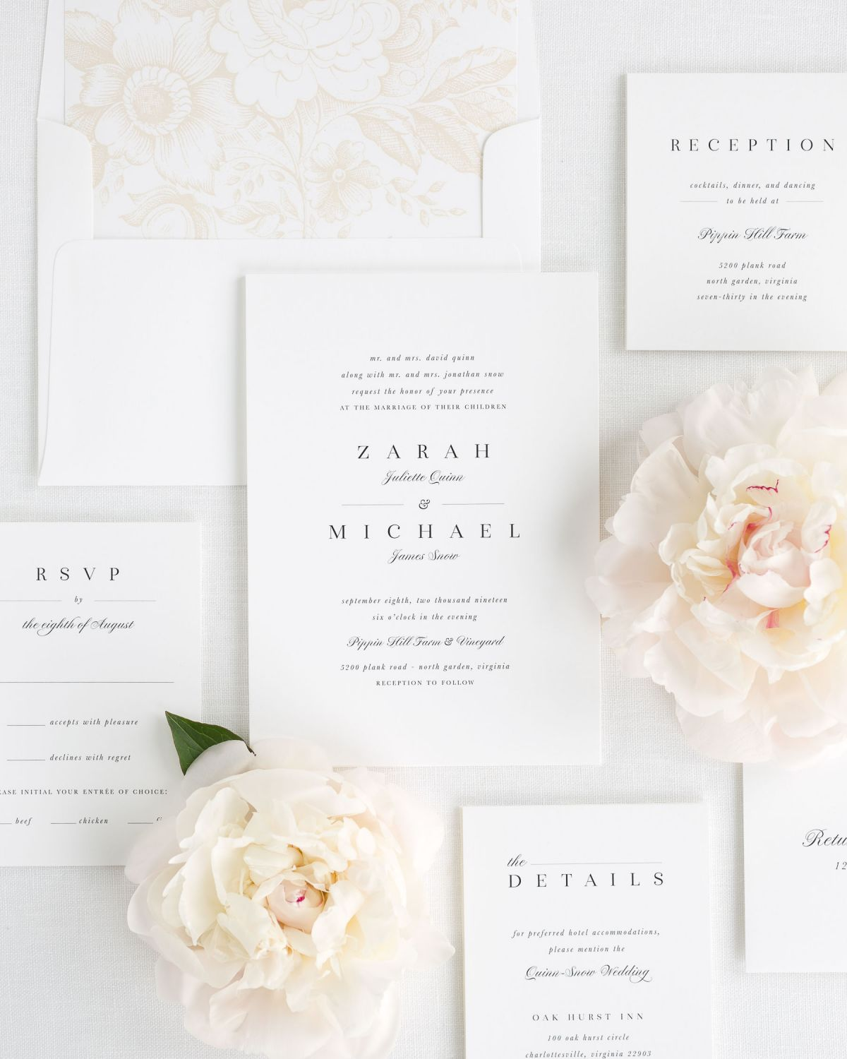 Classic Wedding Invitations in Champagne with a Floral Envelope Liner