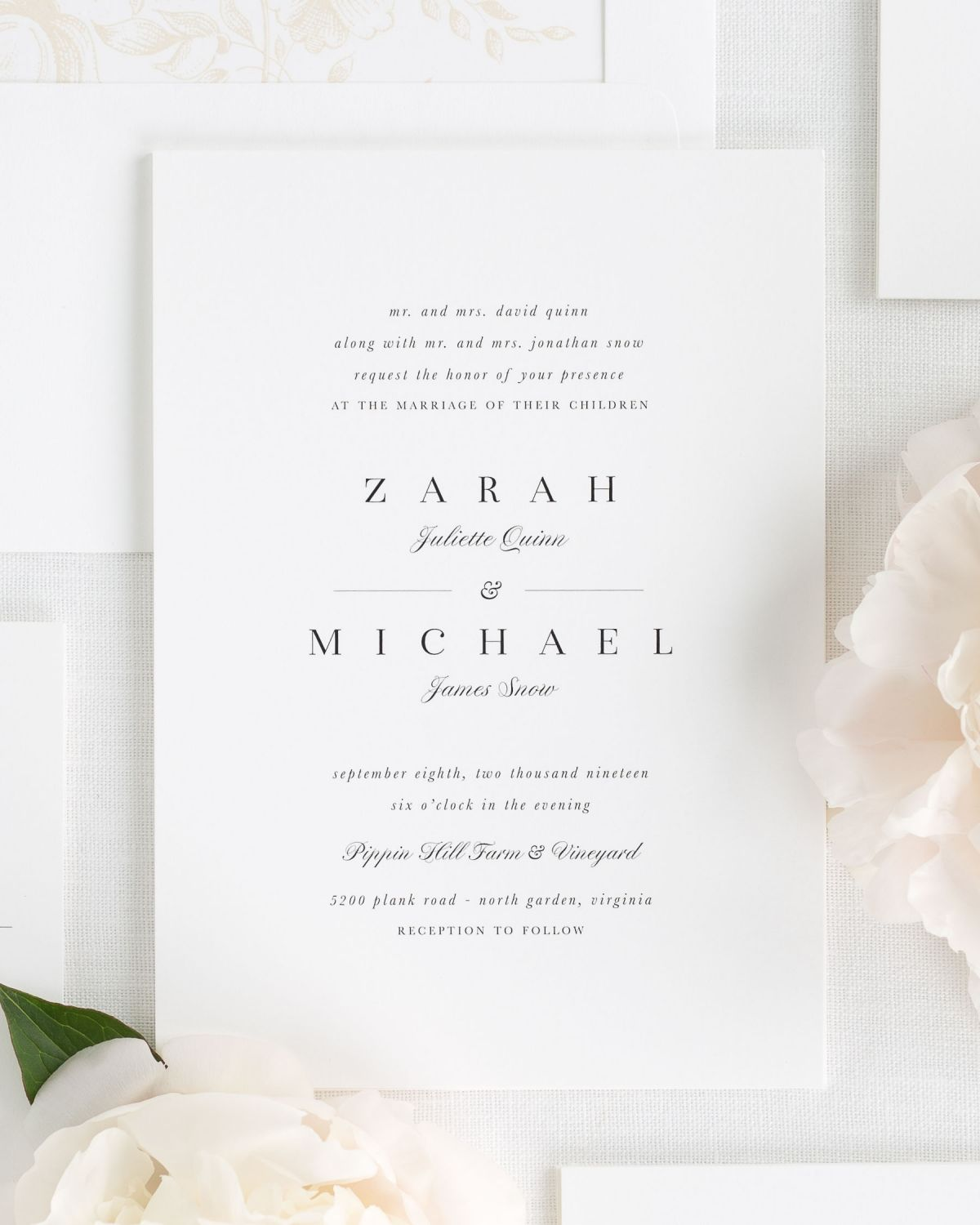 Small Non-Script Names Wedding Invitations